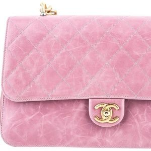 Chanel Quilted Classic Flap Leather Bag Light Purp